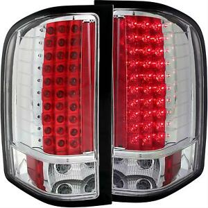 Anzo Led Taillights Red clear Lens Chrome Housing 2007 2012 Chevy Silverado 1500