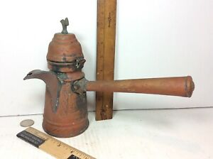 Antique Chased Etched Copper Chocolate Coffee Pot Brass Base Pinned Tinned Seams