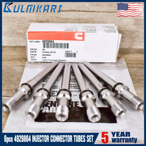 New 6 Pcs 5 9 6 7l Injector Connector Tubes For 2003 2012 Dodge Cummins Diesel