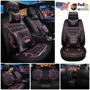 Car Seat Cover Leather Front rear Back Full Set Black pink Universal Interior Us