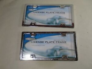 Custom Accessories Chrome License Plate Frame 92561 W Decorative Caps Pair Two