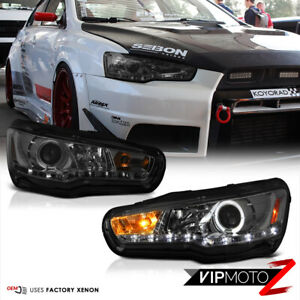 08 17 Mitsubishi Lancer Evolution X 10 Mr gsr Led Smoke Halo Projector Headlight