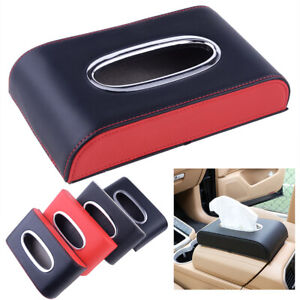 Black red Leather Tissue Box Cover Pumping Paper Car Home Napkin Holder Case