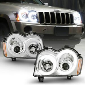 Chrome Clear Halo Led For 05 07 Jeep Grand Cherokee Projector Headlight Assembly