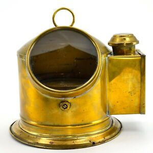 Original Brass Glass Ships Gimbaled Compass Binnacle Maritime Nautical