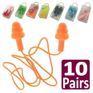 10 Pairs Silicone Ear Plugs Corded Hearing Protection 33db Anti Noise Sleeping