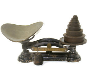 Antique Cast Iron Candy Scale Weights Vtg Forsyth Co General Store Counter