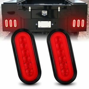 2x 6 Inch Red Oval Led Truck Trailer Brake Stop Lights Turn Signal Tail Lamp