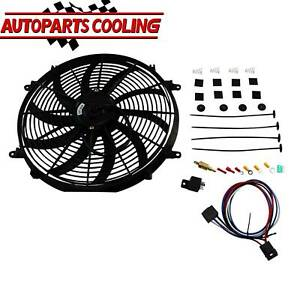 16 Inch 12v Electric Radiator Cooling Fan mount Kits thermostat Kit Universal