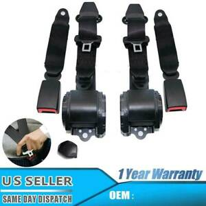 2x Universal 3 Point Retractable Seat Belts For Jeep Cj Yj Wrangler 1982 95