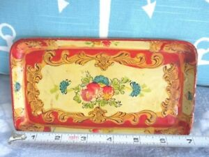 Small Red Yellow Hand Painted Paper Mache Tole Roses Dresser Tidbit Pin Tray