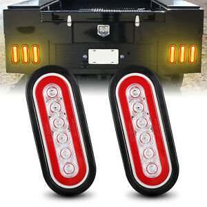 2x 7 Yellow Oval 6 Led Truck Trailer Brake Stop Lights Turn Signal Tail Lamps