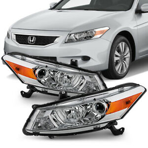 Chrome Replacement Projector Headlight Signal Lamp For 08 12 Honda Accord Coupe