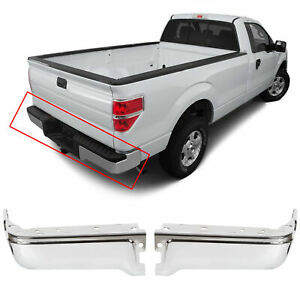 For 2009 2014 Ford F150 Styleside Rear Step Bumper End Face Bar Chrome Rh Lh