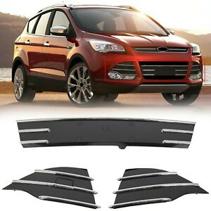 Front Bumper Lower 3pc Chrome Grills Fog Covers For Ford Escape 2013 2016