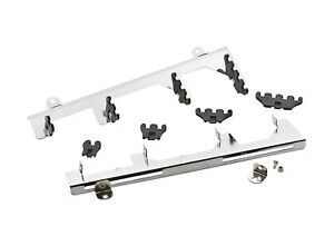 Mr Gasket Spark Plug Wire Loom Brackets Black chrome Steel L 14 25 Kit 9870
