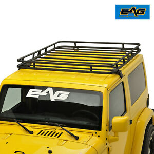 Eag 2 4 Door Roof Rack Cargo Basket W Wind Deflector Fit For 07 18 Jeep Jk