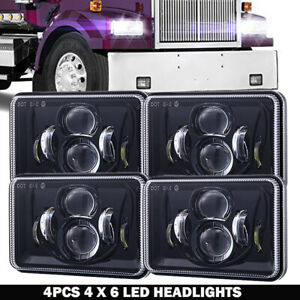 4x Dot Approved 4x6 120w Led Headlights Drl For Peterbilt Kenworth Freightliner
