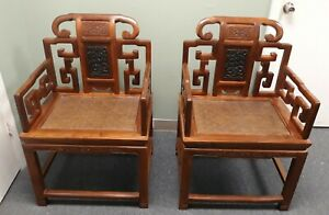 2 Formal Matching Antique Chinese Carved Wooden Chairs Local Pick Up Only