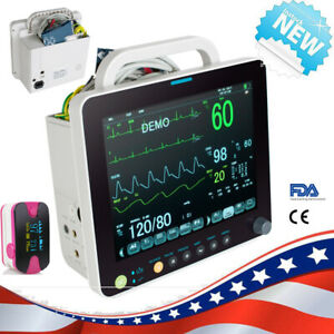 12inch Portable 6 parameter Patient Monitor Vital Sign Cardiac W box gift Ce New