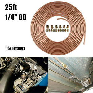 25 Ft 1 4 In Copper Nickel Coil Brake Line Replacement Tubing Kit 16x Fittings