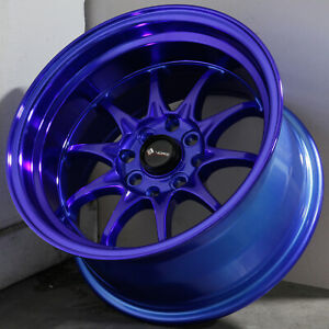 15x8 Candy Purple Blue Wheels Vors Tr3 4x100 4x114 3 0 Set Of 4