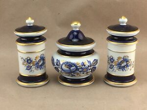 3 Piece Set Of Small Capodimonte Dresser Apothecary Style Storage Jars