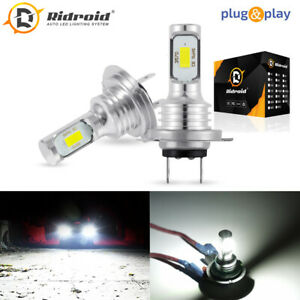 Pair H7 Led Headlight Bulbs Conversion Kit Super High Low Beam 4000lm 6000k 80w