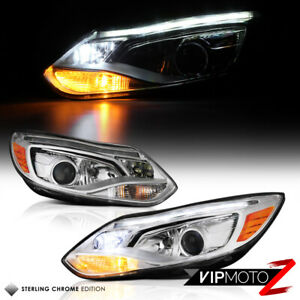 2012 2013 2014 Ford Focus Chrome Brightest Led Strip Projector Headlights Lamp