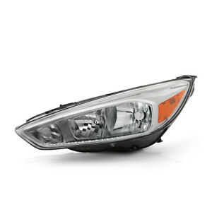 left Driver Side Clear Lens Chrome Headlight For 15 18 Ford Focus Driving Lamp