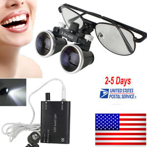 Us Ship Dental Loupes 3 5x 420mm Surgical Binocular Metal Frame led Head Light