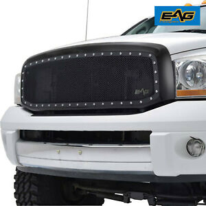 Eag Replacement Grill Wire Mesh Rivet Matte Black Shell Fit 06 08 Dodge Ram