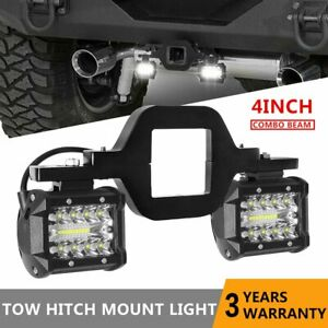 Tow Hitch Mount Bracket 2x 4 Led Spot Flood Offroad Suv Work Reverse Lights