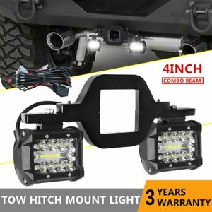 Tow Hitch Mount Bracket W 4 Led Work Reverse Lights Offroad Suv Pickup Wire