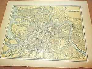 Antique 1896 Colored City Map Of St Petersburgh Reverse Is Stockholm Sweden