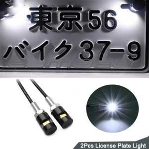 2 White Smd Led 12v Black License Plate Screw Bolt Light Lamp Bulb