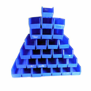 lot 29 Uline Stackable Storage Bins Plastic Container Blue 15 X 5 5 X 5