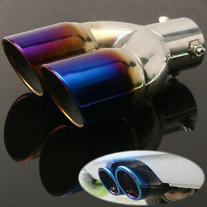 63mm Chrome Colorful Rear Dual Exhaust Muffler Pipe Tail Tip Universal