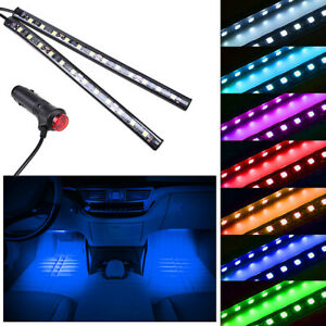 2pcs 12led Blue Cigarette Lighter Car Interior Floor Atmosphere Light Strip
