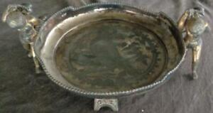 Victorian Middletown Plate Footed Silver Plate Tray Beautiful Piece Gilt Gold