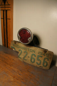 Vintage Duolamp Glass Tail Stop Light License Plate Bracket Ford Chevy Dodge