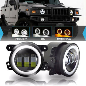 Set Of 2 Clear Lens 4 Inch Fog Lights For 2007 09 Jeep Wrangler jk Lh