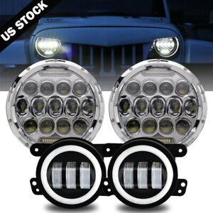 07 17 For Jeep Wrangler Jk Halo Led Headlight 280w Chrome Halo Fog Light Combo