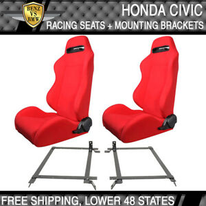 For 92 Honda Civic Cloth Red Racing Seats With Red Stitch Custom Brackets
