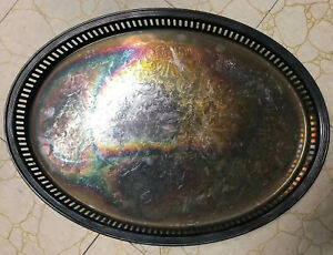 Silver Plate Oval Gallery Serving Tray Wm Rogers App 16 X 11 5 Scroll Design