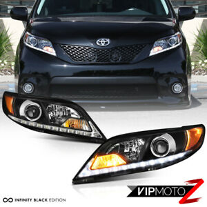 For 15 20 Toyota Sienna Se Black Housing Led Drl Headlamps Headlight Replacement
