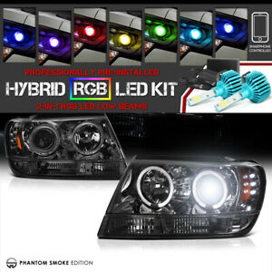 remote Color Led Low Beam For 99 04 Jeep Grand Cherokee Laredo Halo Headlights