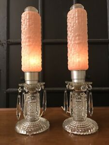 Antique Boudoir Lamp Bullet 1930 S Art Deco Vanity Table Pair Crystal Torpedo