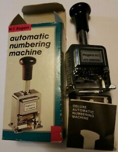 W t Rogers Automatic Numbering Machine Model 04213 Vintage No Ink Included