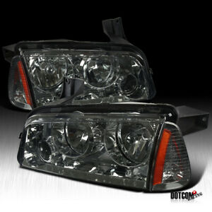 For 2006 2010 Dodge Charger Smoke Tinted Headlight Signal Corner Lamp Left Right